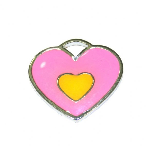 1 x 20*19mm rhodium plated double heart enamel charm - pink with yellow little heart- SD03 - CHE1216